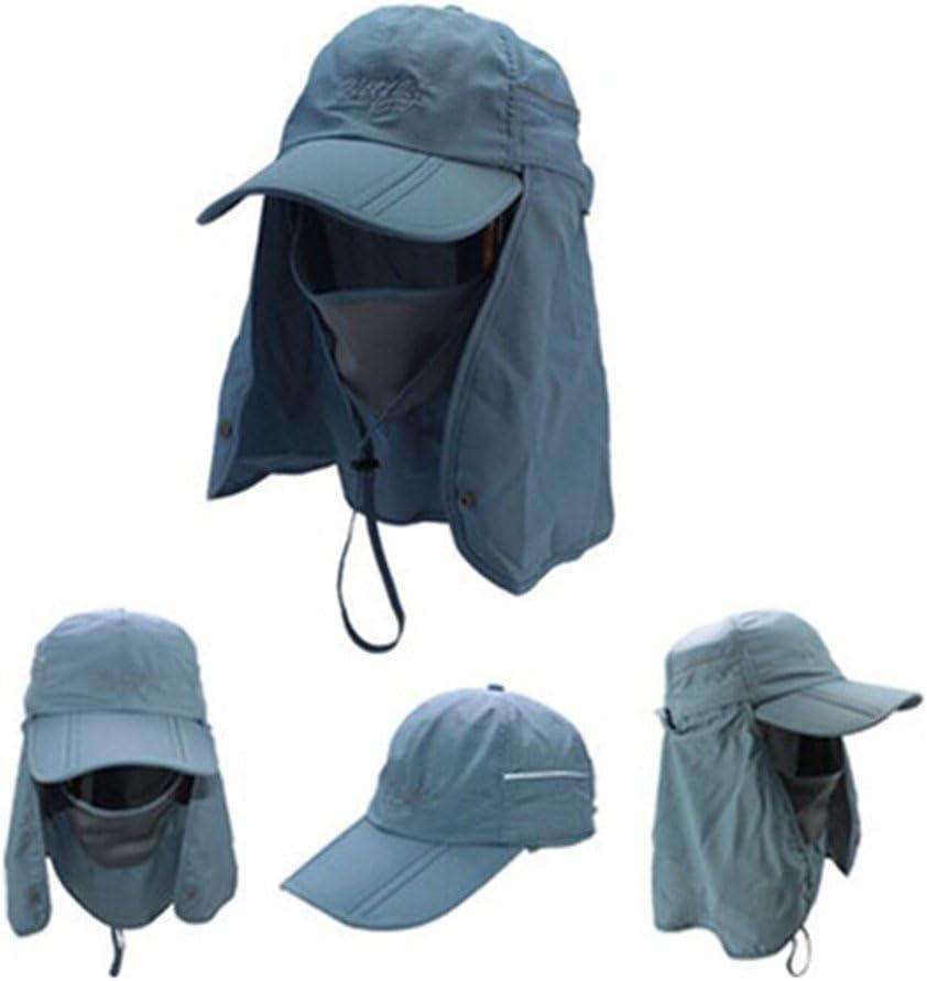GenialES Unisexe Adulte Protection 360/°Anti UPF50 Chapeau de Soleil Pliable Masque Prot/ège-Nuque Chasse Camping P/êche Randonn/ée Cyclisme Agriculture Jardin