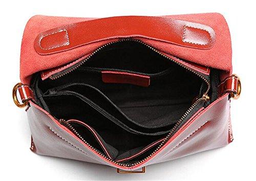 Sommer Farbe Leder Handtasche Breite Schultergurt einfach Wild weiche Schulter diagonal Schulter Tasche für Damen mit Deckel Beutel Rot joFG3TJx