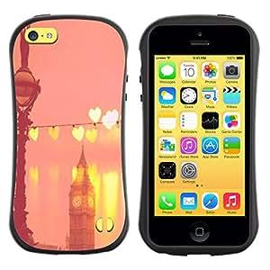 LASTONE PHONE CASE / Suave Silicona Caso Carcasa de Caucho Funda para Apple Iphone 5C / Big Ben Hearts Peach Pink London England