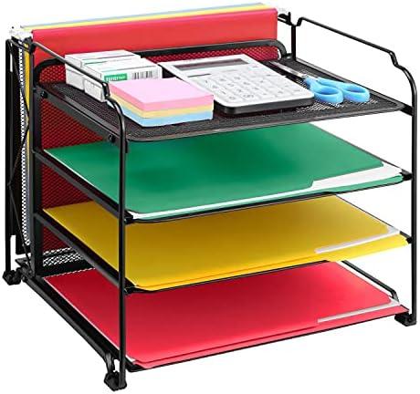 Vontreux 4-Trays Office Supplies Desk Organizer, Desktop Hanging File Holder, Black