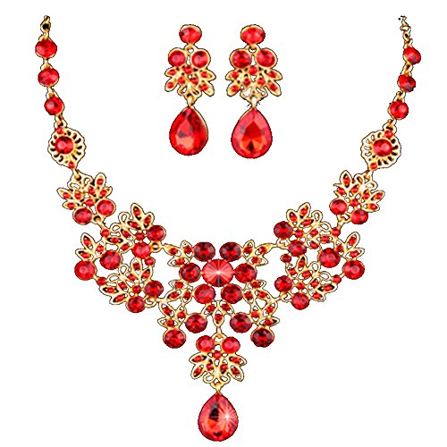 HeroNeo Hot Prom Wedding Bridal Party Crystal Rhinestone Necklace Earring Jewelry Sets (13#)