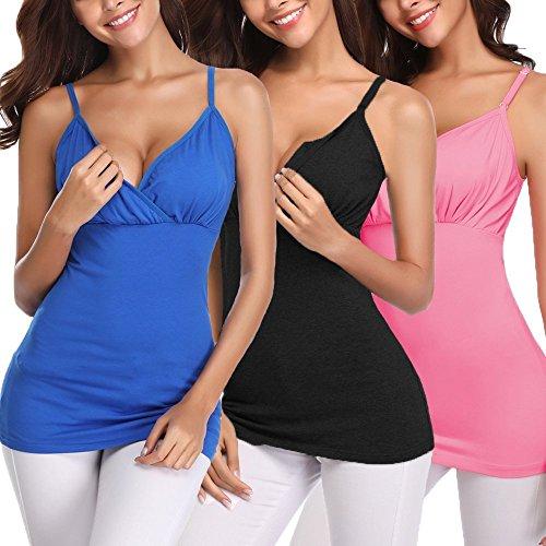 Derssity Womens Nursing Bra Nursing Tank Tops for Breastfeeding (Black+Pink+Royal Blue,S) by Derssity (Image #7)