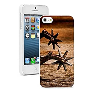 Apple iPhone 5 5S Hard Back Case Cover Color Vintage Rodeo Riding Spurs (White)