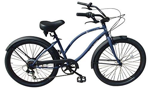 【ギヤ付き!!】人気の小さめ24インチ 変速 ローズタトゥービーチクルーザー【マットネイビー】♠fivecard-bike B0787WGN3K