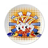 Casino Dice Chips Poker Illustration Dessert Plate Decorative Porcelain 8 inch Dinner Home