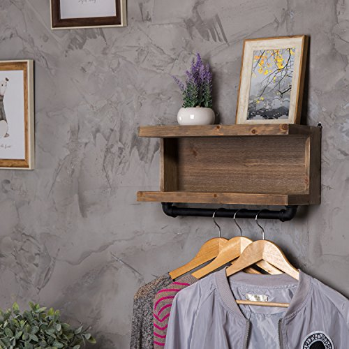 2 Tier Floating Shelves Rustic Wall Mounted Wood Shelf