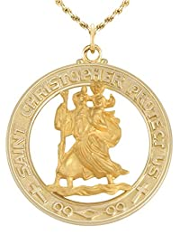 1 1/8in Round Solid 14k Yellow Gold Saint Christopher Medal Pendant Necklace