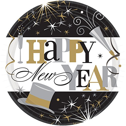 Happy Top Year New Hat (Amscan 60 Count Elegant New years Celebration Big Party Pack Round Paper Plates, 9