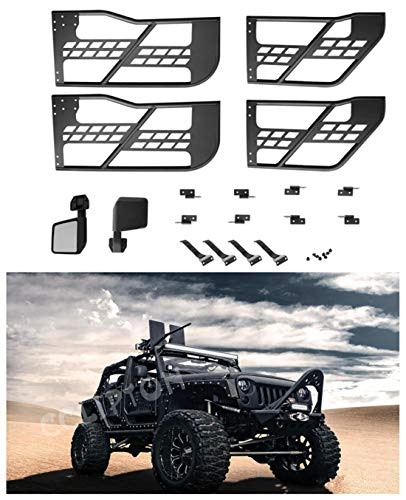 cclipton for 07-17 Jeep Wrangler JK 4 Door Steel Tube Doors Safari BLK with Side View Mirror