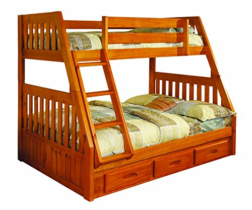 Discovery World Furniture Twin over Full Bunk Bed with 3 Drawer Storage, - Loft One Discovery All