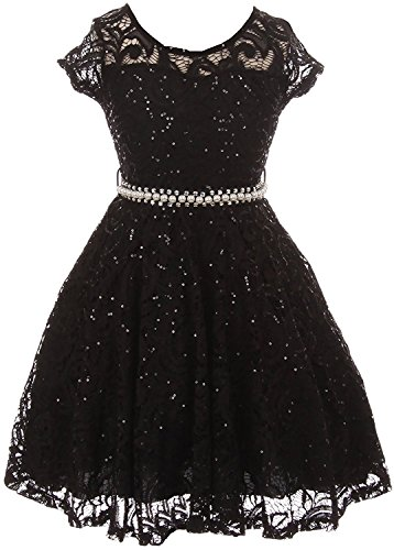 iGirldress Cap Sleeve Floral Lace Glitter Pearl Holiday Party Flower Girl Dress Black 4
