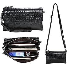Womens Genuine Leather Wristlet Purse Cross Body Phone Wallet Clutch Handbag