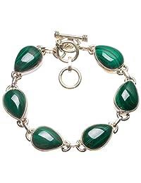 "StarGems(tm) Natural Malachite Handmade Vintage 925 Sterling Silver Bracelet 6-7"""