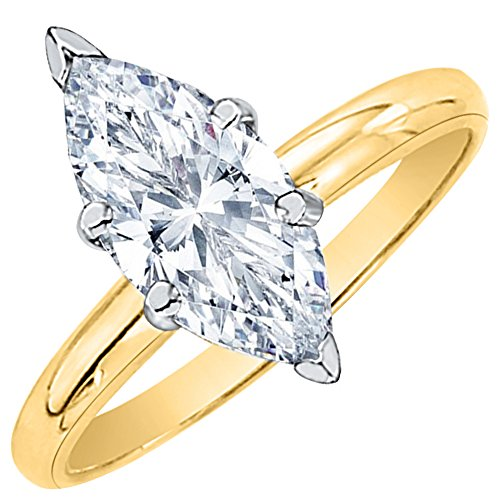 1/2 Ct Marquise Solitaire - 0.5 ct. F - SI2 Marquise Cut Diamond Solitaire Engagement Ring in 14k Yellow Gold (Size-3.75)