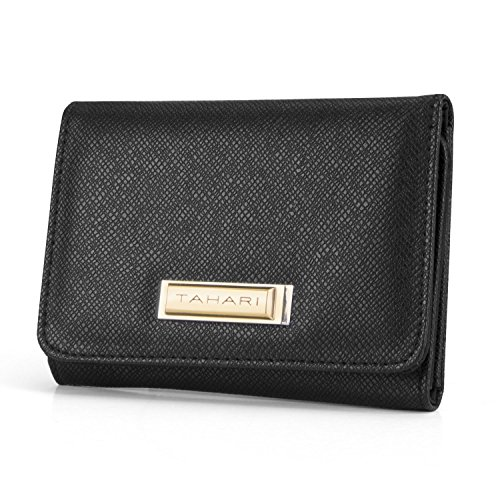 Tahari RFID Womens Small Wallet Clutch Indexer With Mirror (Leather Indexer Wallet)