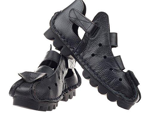 2 Velcro Faits Chaussures Cuir Vogstyle Style Femme Noir Main Plates Brides Des À La xwH6vqvOg