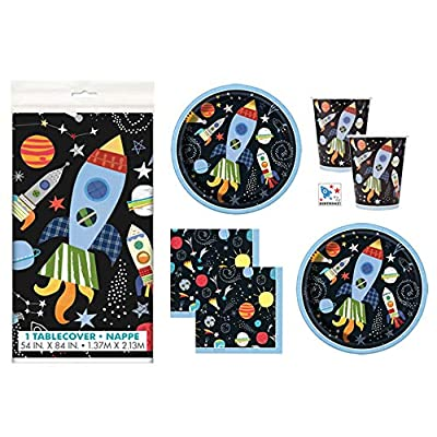 Outer Space Rocket Ship Themed Birthday Party Supplies Set - Serves 16 - Tablecover, Plates, Cups, Napkins, Sticker: Toys & Games