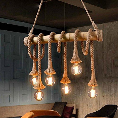 Retro DIY Hanfseil Bamboo Pendelleuchte Leuchte Bambus Hanf Seil Leuchter Kronleuchter Vintage Industrielle 6 Flammige Edison Licht Hängeleuchte für Küchenleuchte Esstisch Wohnzimmer Esszimmer Bar