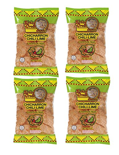 (Turkey Creek - America's Best Fried Pork Skins, offers a Premium 4-Bag Pack of its Chili-Lime Pork Rinds . These Pork Skin Chips (Chicharrones) are packed in full 2.0 oz bags.)