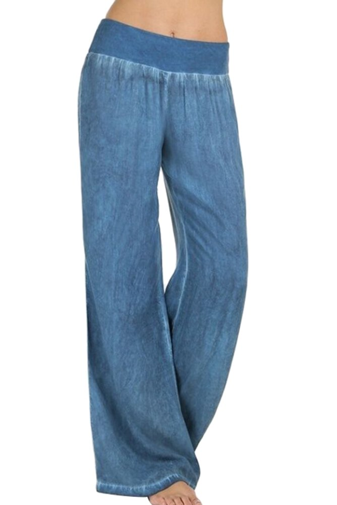 Smibra Womens Ease in to Comfort Elastic Waist Wide Leg Casual Pull On Denim Jeans