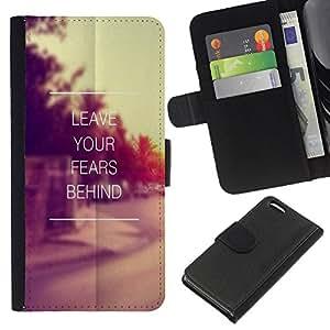 KingStore / Leather Etui en cuir / Apple Iphone 5C / Cita de motivación de la vendimia