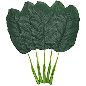 Warmter Fake Leaves 25'' Large Artificial Palm Leaves Banana Leaves Tropical Plant Green Single Leaf Palm Fronds Hawaiian Luau Party Theme Palm Sunday Decorations 5 Pcs 9