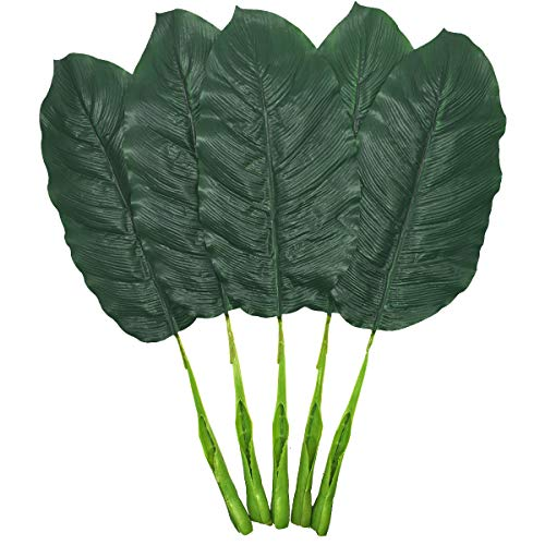 Sunday Palm Set (Fake Leaves 25'' Large Artificial Palm Leaves Banana Leaves Tropical Plant Green Single Leaf Palm Fronds Hawaiian Luau Party Theme Palm Sunday Decorations 5 Pcs (Dark Green))