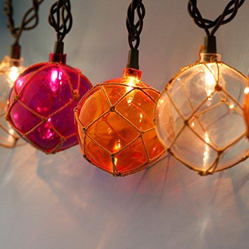 Lidore? Set of 10 New Nautical Fishing Floats Coastal Buoy Beach Style String Lights Set. Warm White Lighting. Orange Clear and Purple by Lidore? (Image #2)