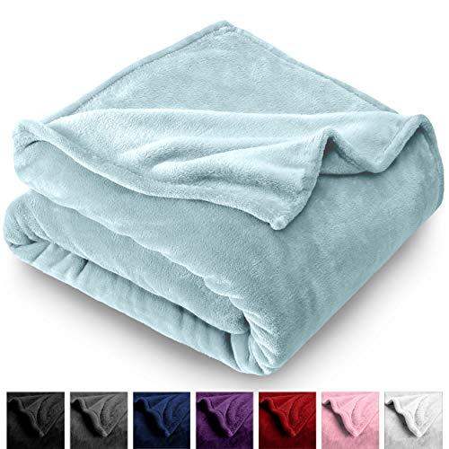 Bare Home Microplush Velvet Fleece Blanket - Full/Queen - Ultra-Soft - Luxurious Fuzzy Fleece Fur - Cozy Lightweight - Easy Care - All Season Premium Bed Blanket (Full/Queen, Light Blue)