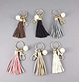 Faux Suede keychain tassels beaded Key Ring Chain tassel purse bag handbag charm