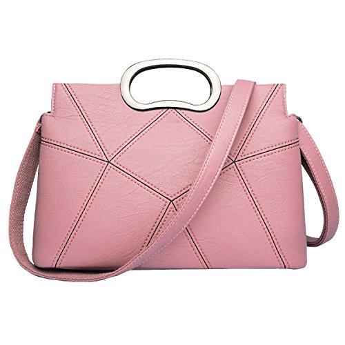 Mujeres Nueva Moda Hombro Top-manejar Bolso Señoras Casual Adolescentes Cruz-cuerpo Pink