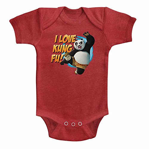 Kung Fu Panda Unisex-Baby Love Kung Fu Onesie, Size: 12M, Color: Vintage Red