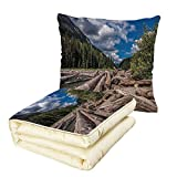 iPrint Quilt Dual-Use Pillow Driftwood Decor Nature Theme Driftwood on a River The Cloudy Sky and Trees Landscape Multifunctional Air-Conditioning Quilt Blue and Taupe