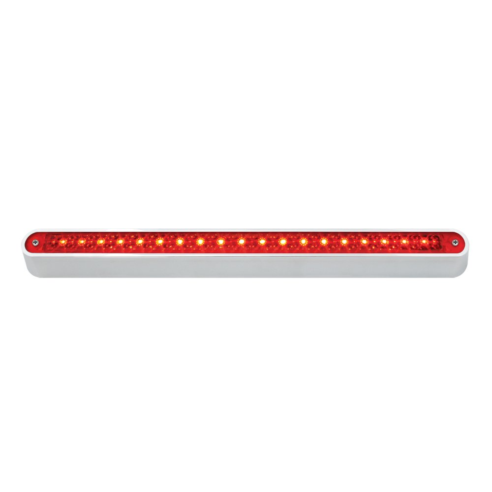 Grand General 76295 Red 12'' 19-LED Sealed Light Bar with Chrome Base and 3 Wires for Dual Function