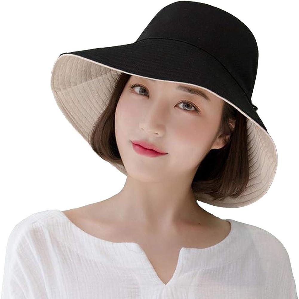 Yuccer Sombrero Mujer Verano Plegable, Algodón Protección Solar Gorro de Playa Mujer Sun Hat for Women Verano