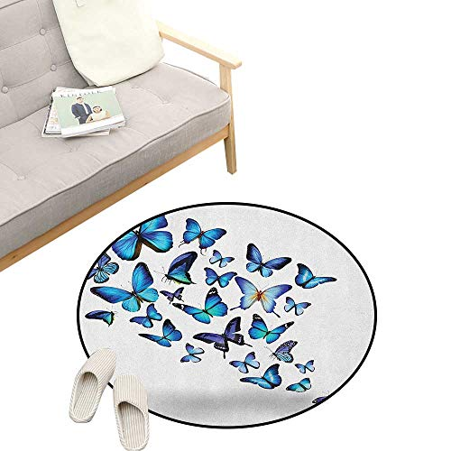 - Butterflies Round Rugs for Bedroom ,Group of Flying Butterflies Natural Botanic Parks Springtime Festive, Skid Resistant Rug Pet Pad 31