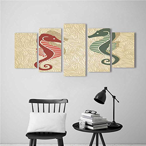 (5 Panel Wall Art Set Frameless Seahorses Graphic Reef Design for The Kitchen, Dining Room, Living Room, Bar and so)