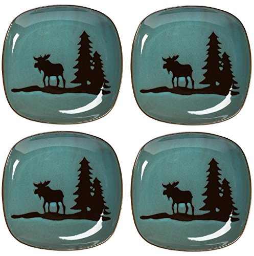 Nature's Home Moose Lodge Stoneware Salad Plates, 8-Inch, Teal Blue (Set of ()