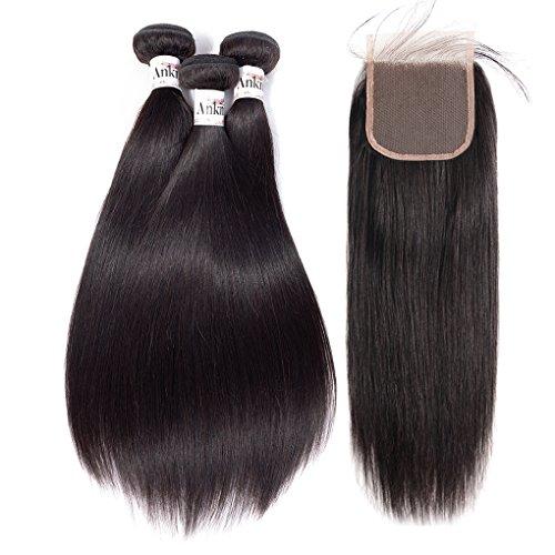 - Anknia Brazilian Virgin Hair Straight 3 Bundles With 4x4 Inch Lace Closure Baby Hair Bleach Knots Remy Human Hair Bundles With Closure Mink Brazilian Weave Hair Extensions (16 18 20 + 14 Free Part)