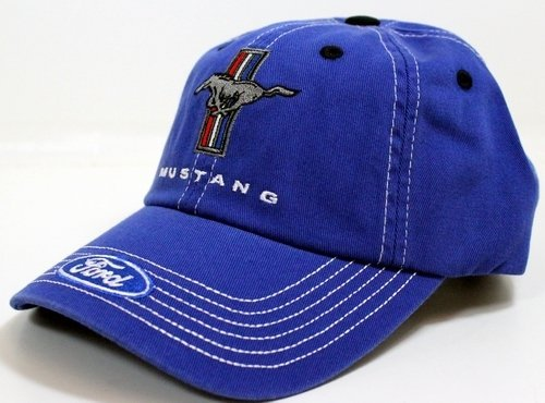 Mustang Running Horse Tri-Bar Blue and White Hat