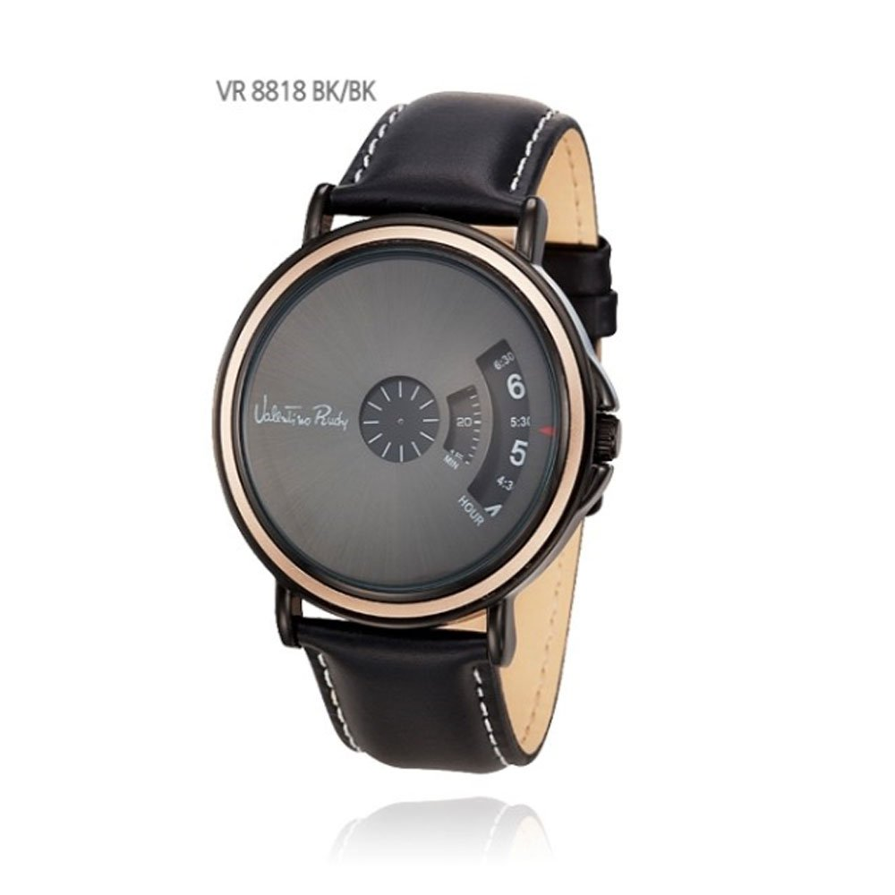 Amazon.com: Valentino Rudy Tempered glass Brass case & S.Steel back VR8818 Bk Black: Watches