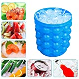 Large Silicone Ice Bucket & Ice Mold with lid,(2 in 1) Space Saving Ice Cube Maker,Silicon Ice Cube Maker Besmon, Portable Silicon Ice Cube Maker (Blue)