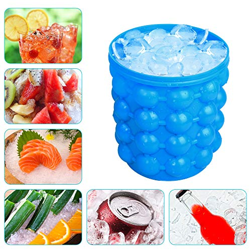 Large Silicone Ice Bucket & Ice Mold with lid,(2 in 1) Space Saving Ice Cube Maker,Silicon Ice Cube Maker Besmon, Portable Silicon Ice Cube Maker (Blue) (Silicone Ice)