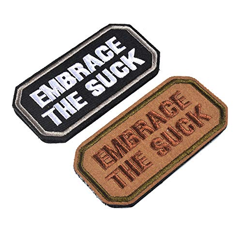 AXEN 2 Pieces Embrace The Suck Funny Tactical Clothing Accessory Backpack Armband Sticker Embroidery Decorative Patch