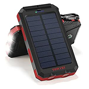 Solar Charger 15000mAh,Teryei Portable Solar Power Bank High Efficiency Solar Phone Charger with Solar Panel, Dual USB Cell Phone Battery Charger for iPhone,Samsung and Emergency Outdoor (Red-Black)