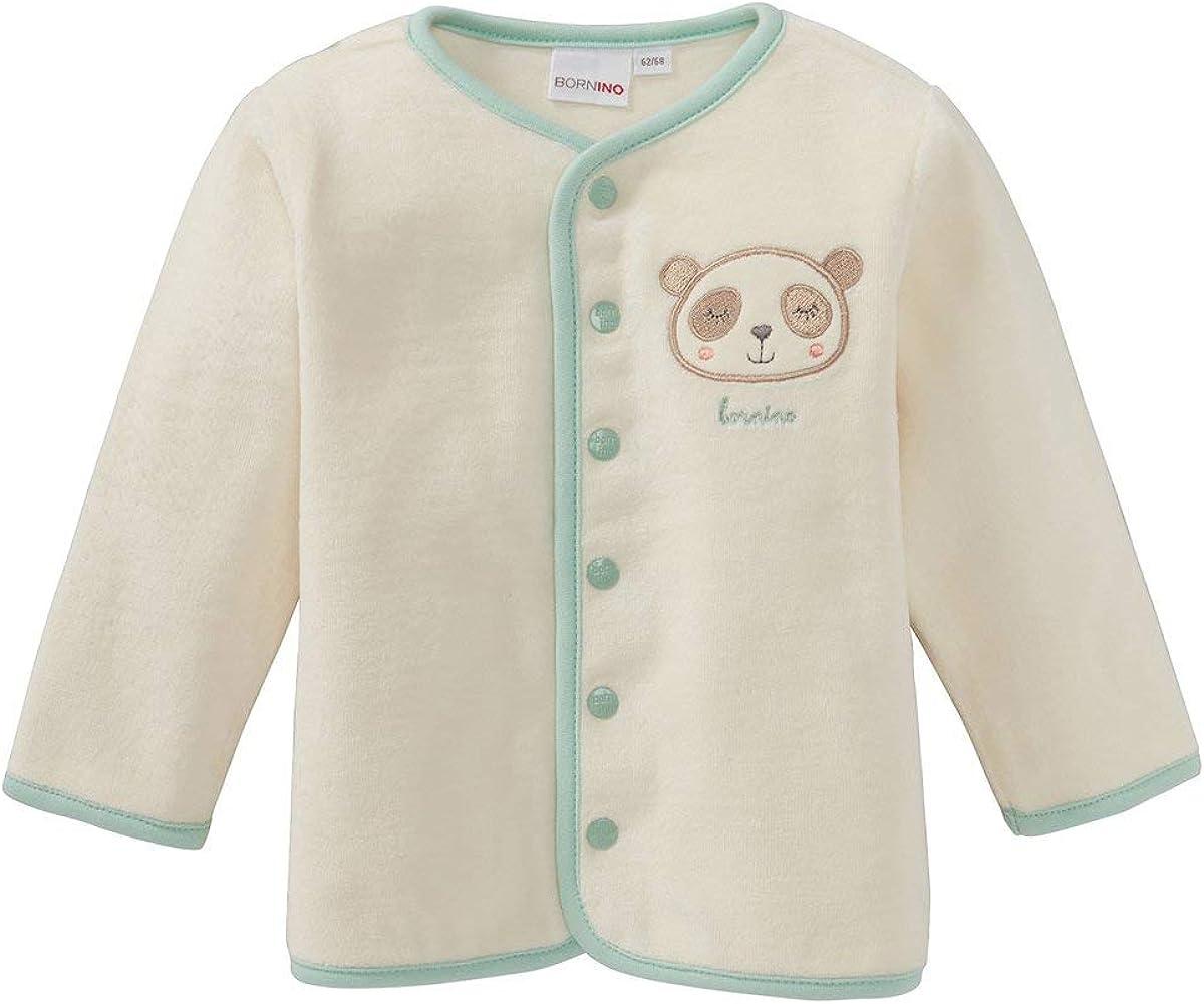 - Baby-Kleidungsset mit unifarbener Jacke Langarmshirt /& geringelter Hose Shirt Langarm /& Hose Panda Offwhite//Mint Bornino Jacke 3-TLG. Set