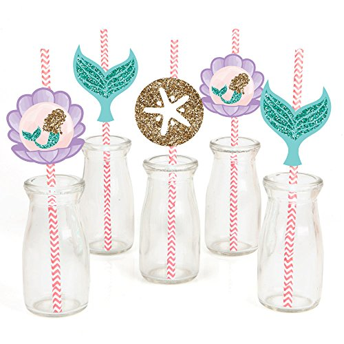 Let's Be Mermaids Paper Straw Decor - Baby Shower or Birthday Party Striped Decorative Straws - Set of 24 (Mermaid Birthday Party Ideas)