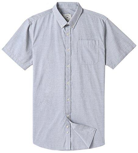 Mocotono Men's Short Sleeve Oxford Button Down Casual Shirt, Gray, X-Large