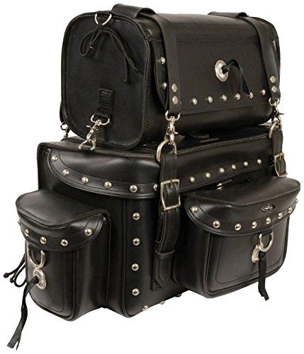 (Milwaukee MP8100S-BLK-PCS Black Heavy Duty Studded Sissy Bar Bag (18X12X9))