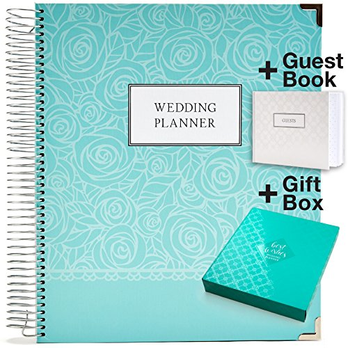 Wedding Planner Gift Set for The Bride to Be: 9x11 Hardcover Wedding Planner and Organizer, Gift Box, Guest Book, Bookmark, Planning Stickers, Business Card Holder, and Pocket Folders (Silver) ()